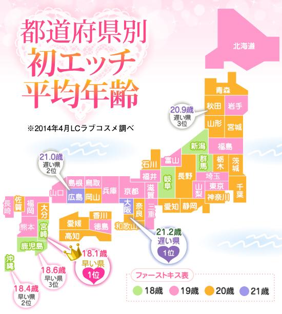 都道府県別初エッチ平均年齢紹介画像